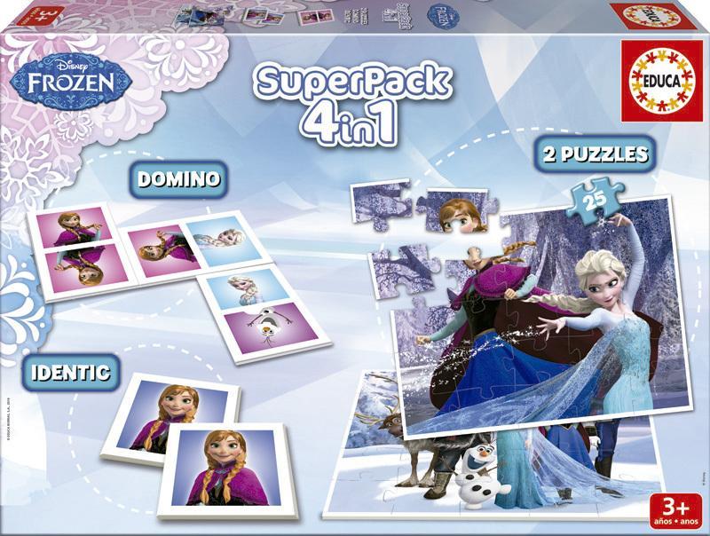 Superpack Frozen 4v1 puzzle, domino, pexeso