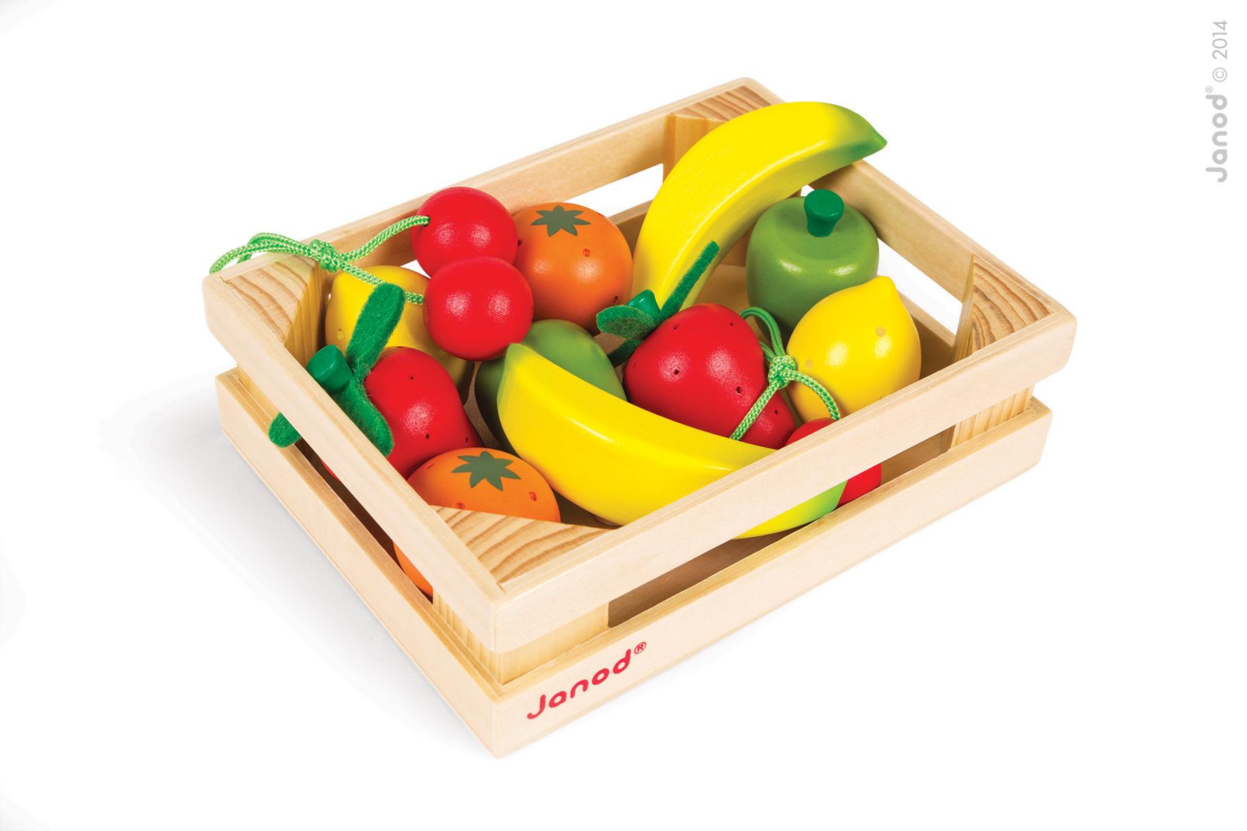 Dřevěné ovoce v bedničce, 12 kusů