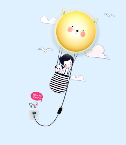 Dětská lampa s nálepkou Létající holčička