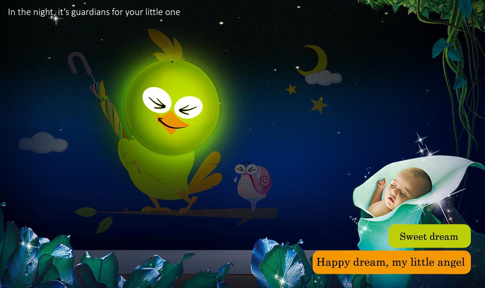 Dětská noční lampa s nálepkou Ptáček