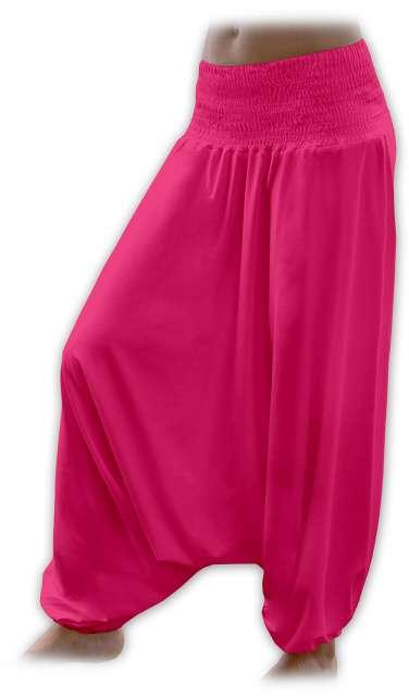 Turecké harémové kalhoty sultánky - sytě růžová