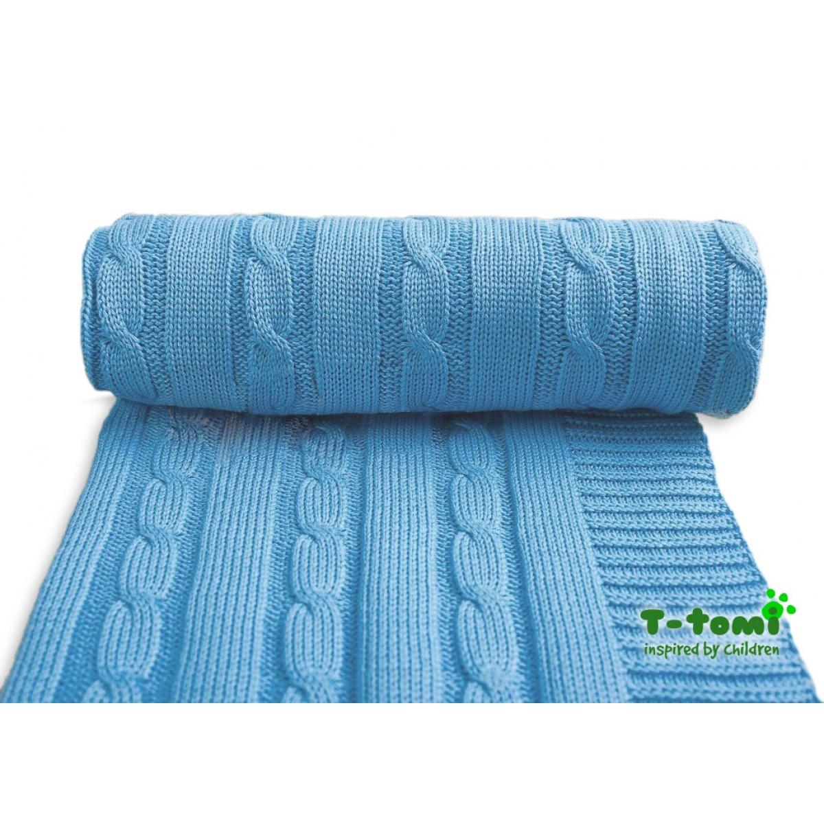 Dětská pletená deka, modrá