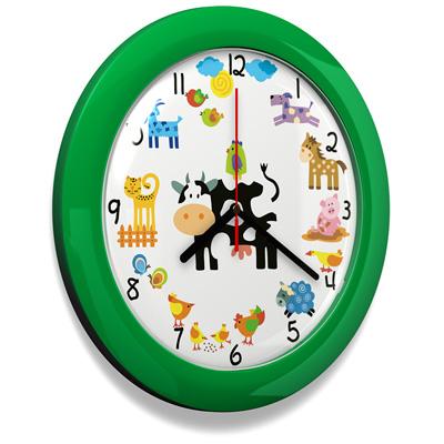 Dětské hodiny Farma green