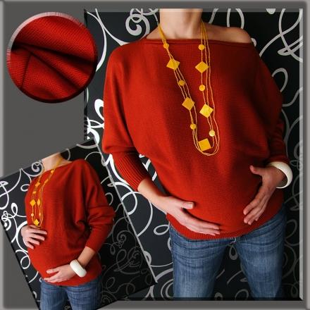 Těhotenský asymetrický svetřík - červená/cihlová