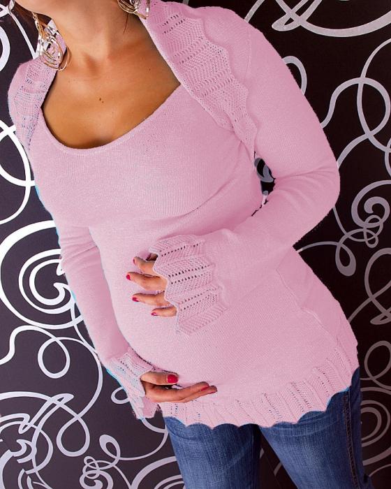 Těhotenský svetřík s bolerkem - růžový