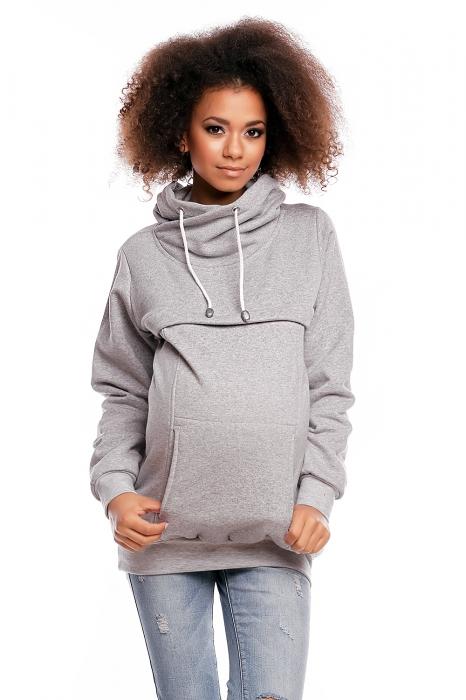 7c88d72f8c Těhotenská mikina s roláčkem DORA - světle šedá
