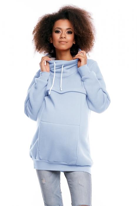 6089651402 Těhotenská mikina s roláčkem DORA - světle modrá