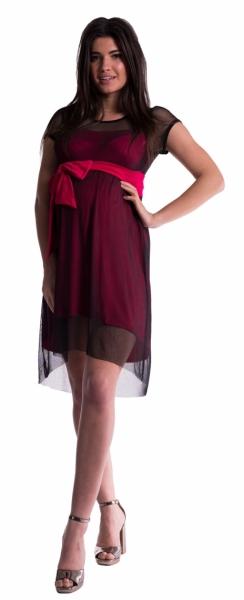 Těhotenské šaty se šifonovým přehozem - amarant