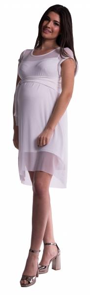 Těhotenské šaty se šifonovým přehozem - bílé