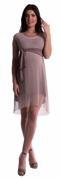 Těhotenské šaty se šifonovým přehozem - cappucino