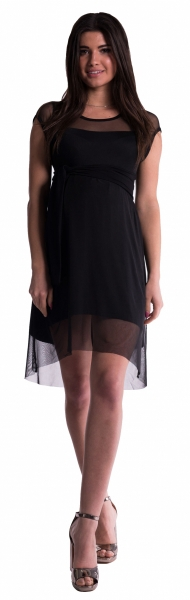 Těhotenské šaty se šifonovým přehozem - černé