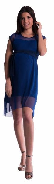 Těhotenské šaty se šifonovým přehozem - granát