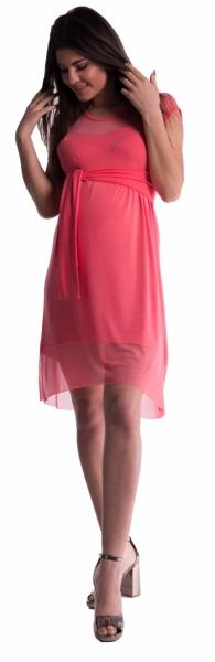 Těhotenské šaty se šifonovým přehozem - korál