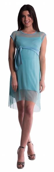 Těhotenské šaty se šifonovým přehozem - máta