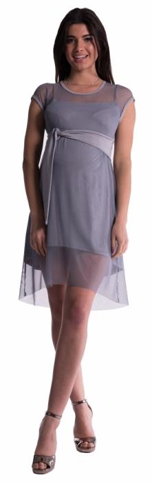 Těhotenské šaty se šifonovým přehozem - šedé