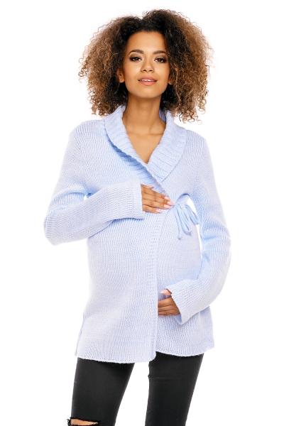 Pletený zavinovací svetřík MAMI - světle modrý