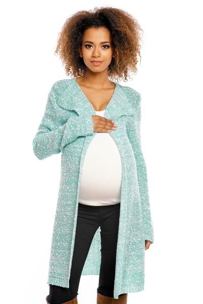 Dlouhý perličkový kabátkový svetřík PENY melírkový - mátový