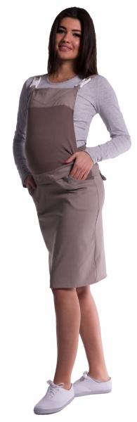 717b4e0784a2 Těhotenské šaty sukně s láclem - cappuccino