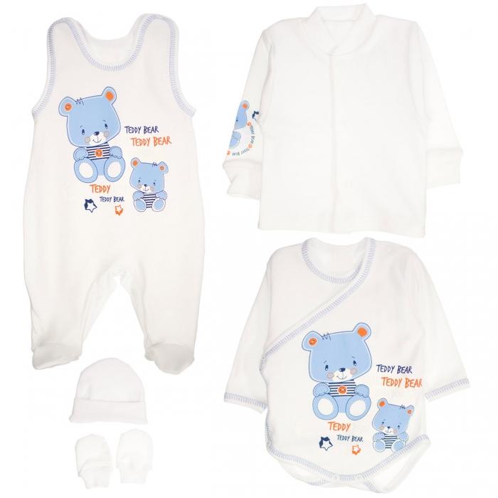 Soupravička do porodnice 5D vel.56 - medvídci Teddy modří