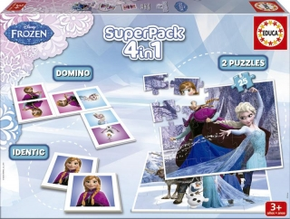 Superpack Frozen 4v1 puzzle, domino, pexeso