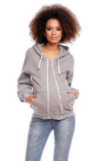 Těhotenská mikina VANDA s kapucí - světle šedá 307d37c2bf